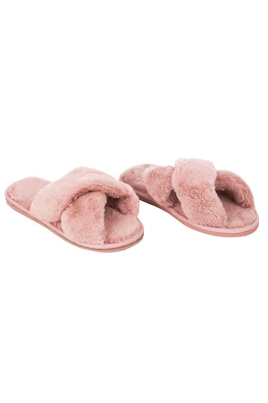Faux Fur Slippers Pink