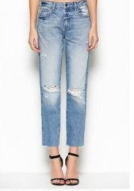 Raw Hem Straight Leg Jeans