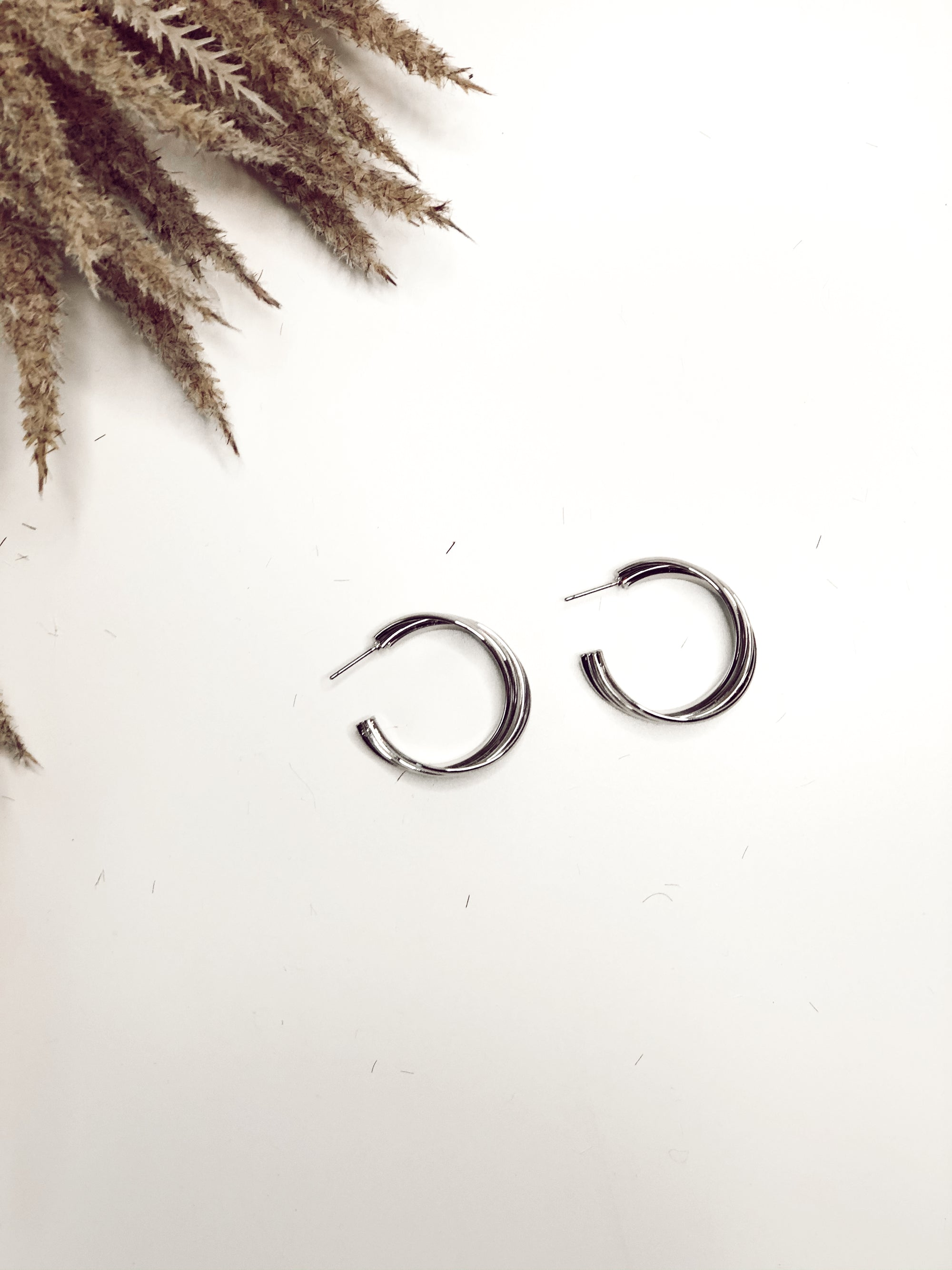 Open Hoop Twist Earrings Silver