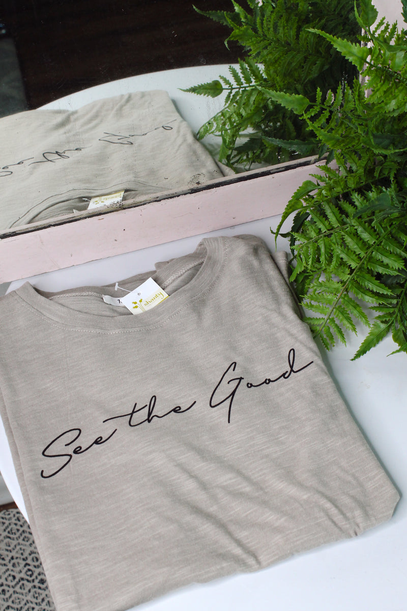 See the Good Taupe Graphic Tee