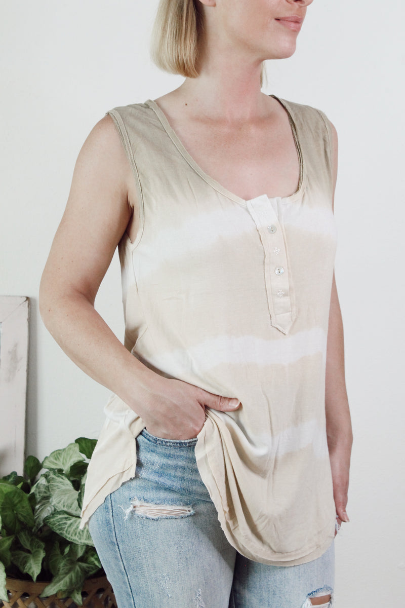 Gone with the Stripe Knit Tank - Taupe