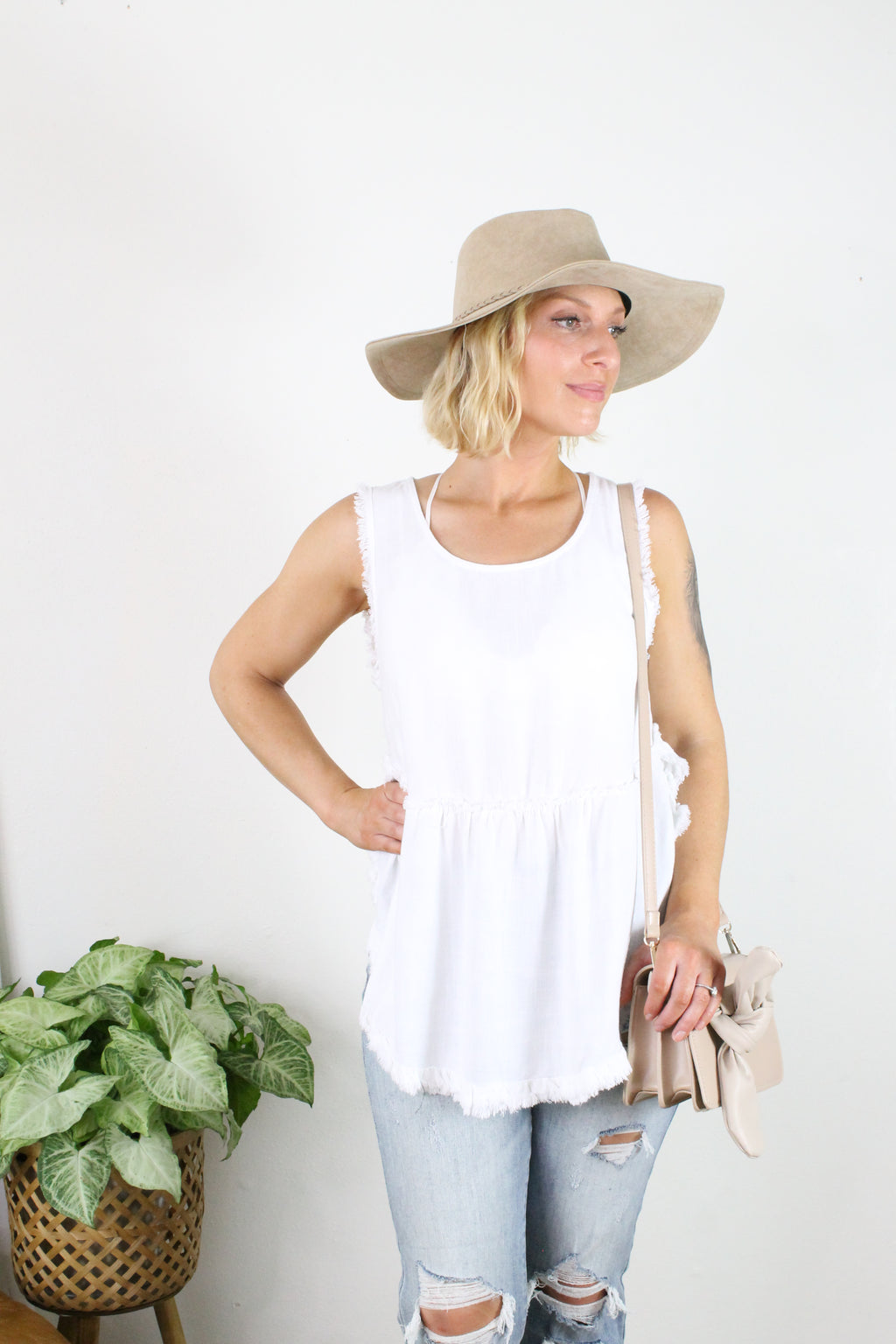 Ruffles Scoop Hem Tank - Off White
