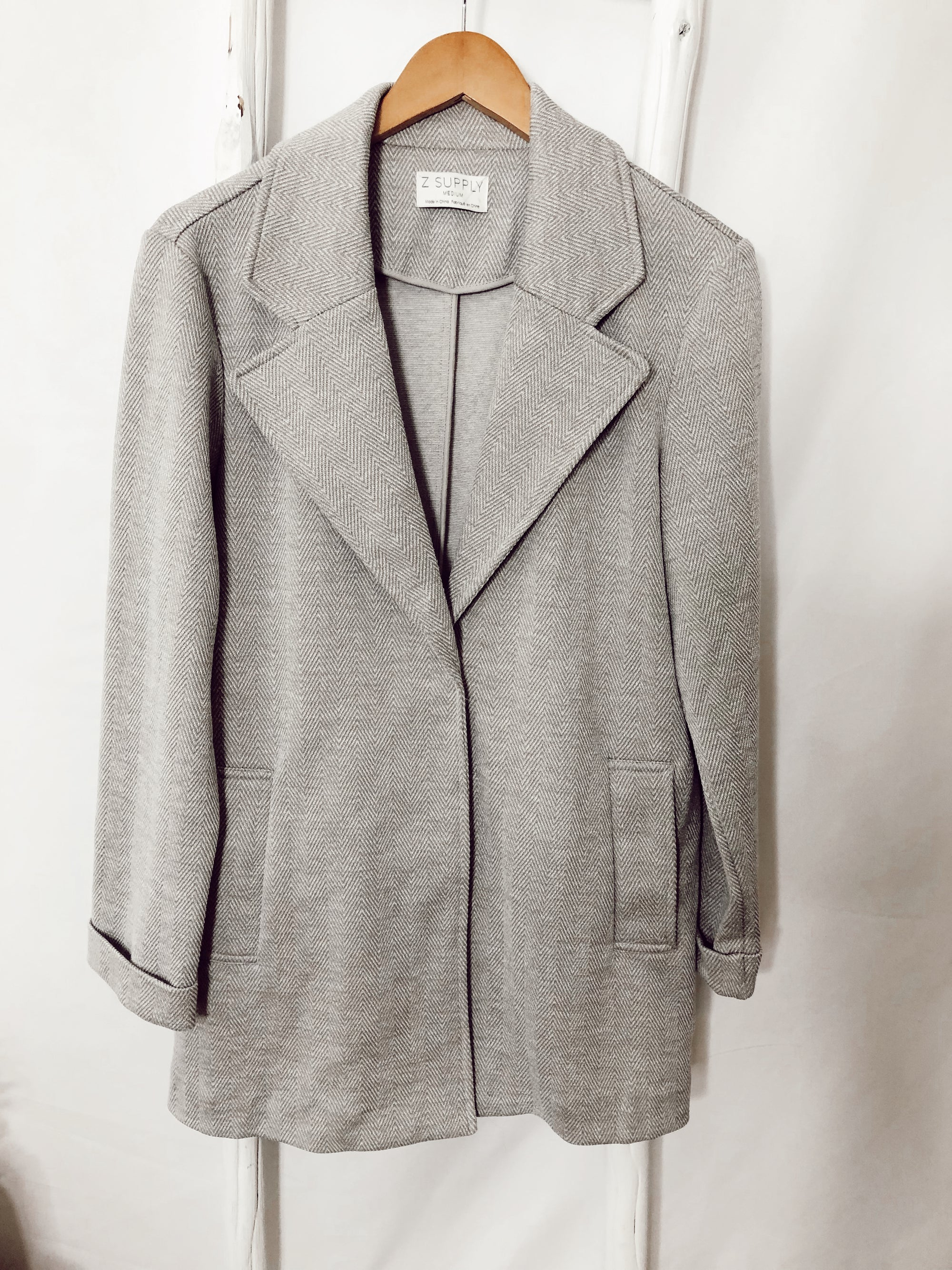 Vella Chevron Jacket Soft Grey