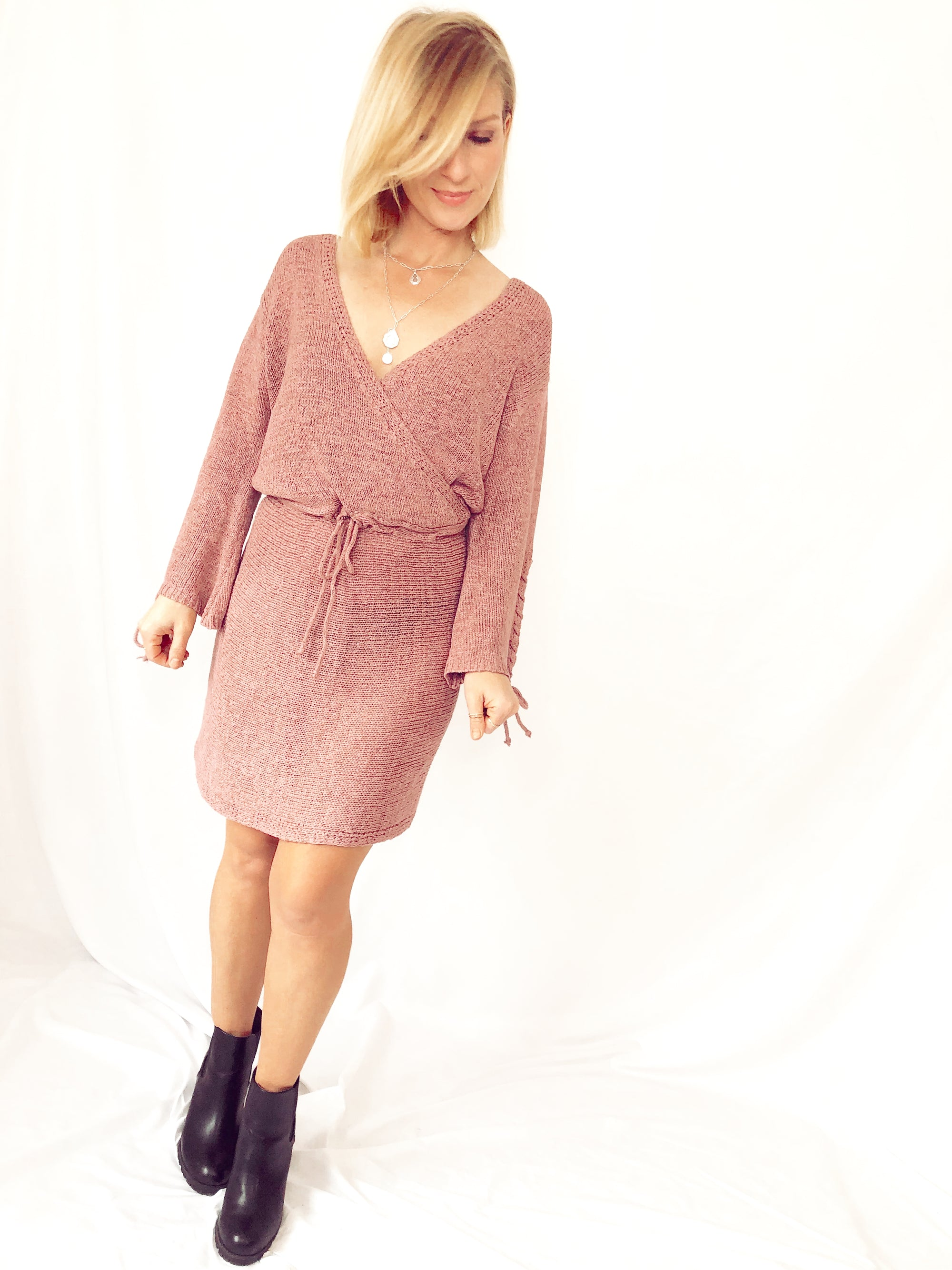 Zoe Lace Up Mini Sweater Dress