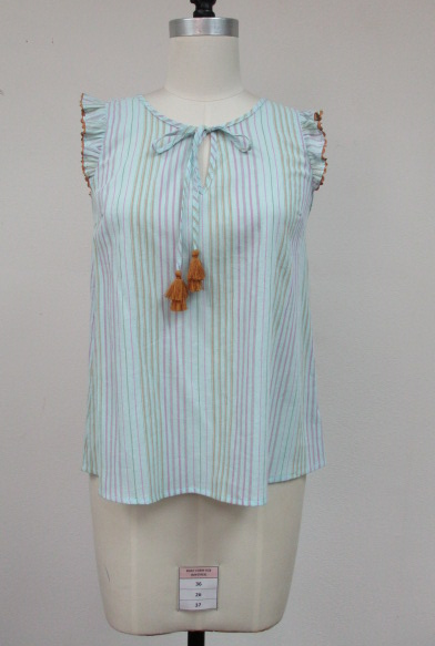Skies are Blue Stripe Tassel Top