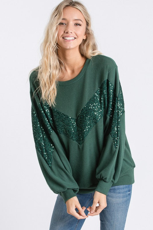 Chevron Sparkles Hunter Green