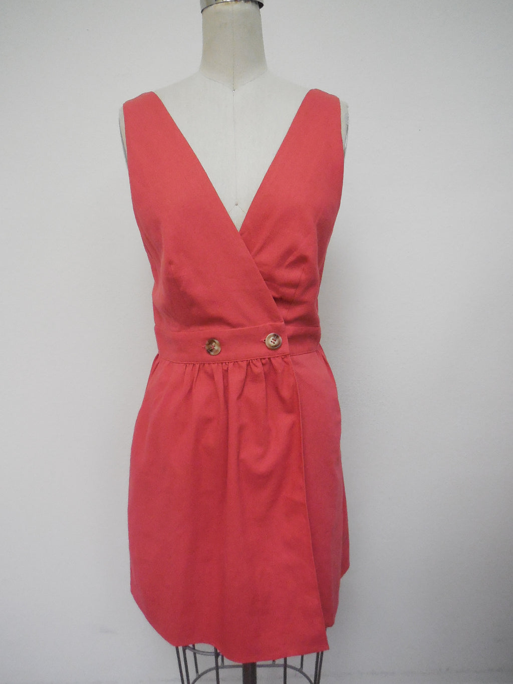 Coral Kiss Wrap Dress