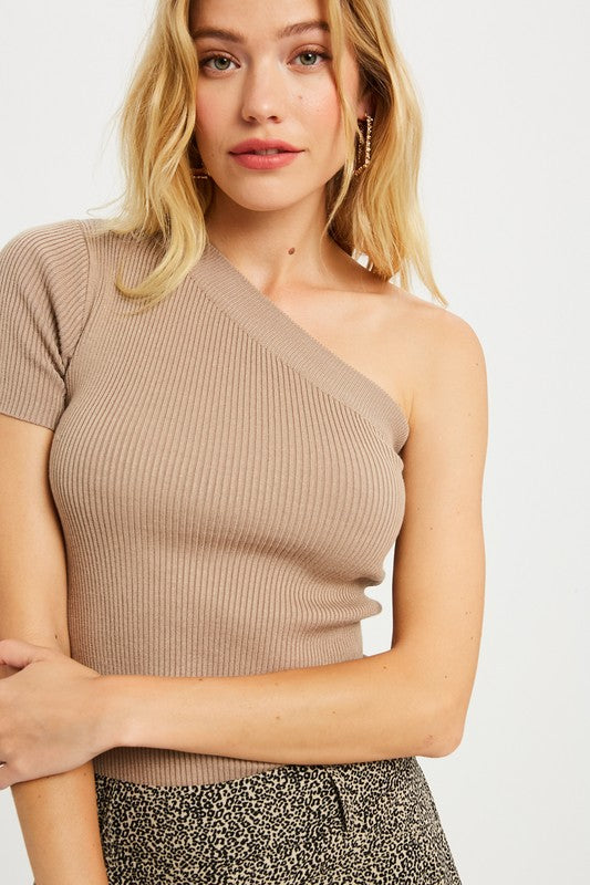 One Shoulder Ribbed Top
