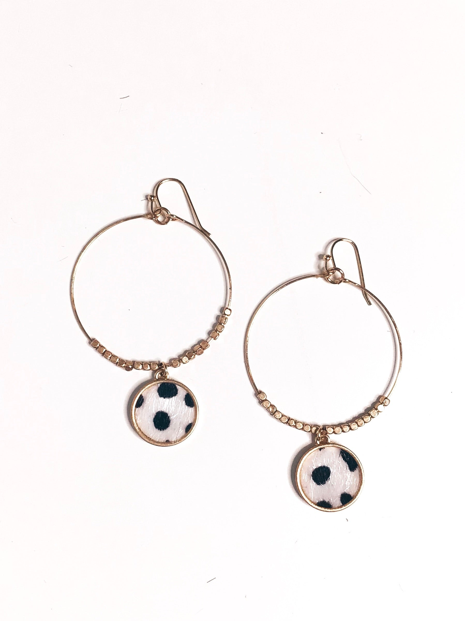 White Leopard Disc Drop Earrings