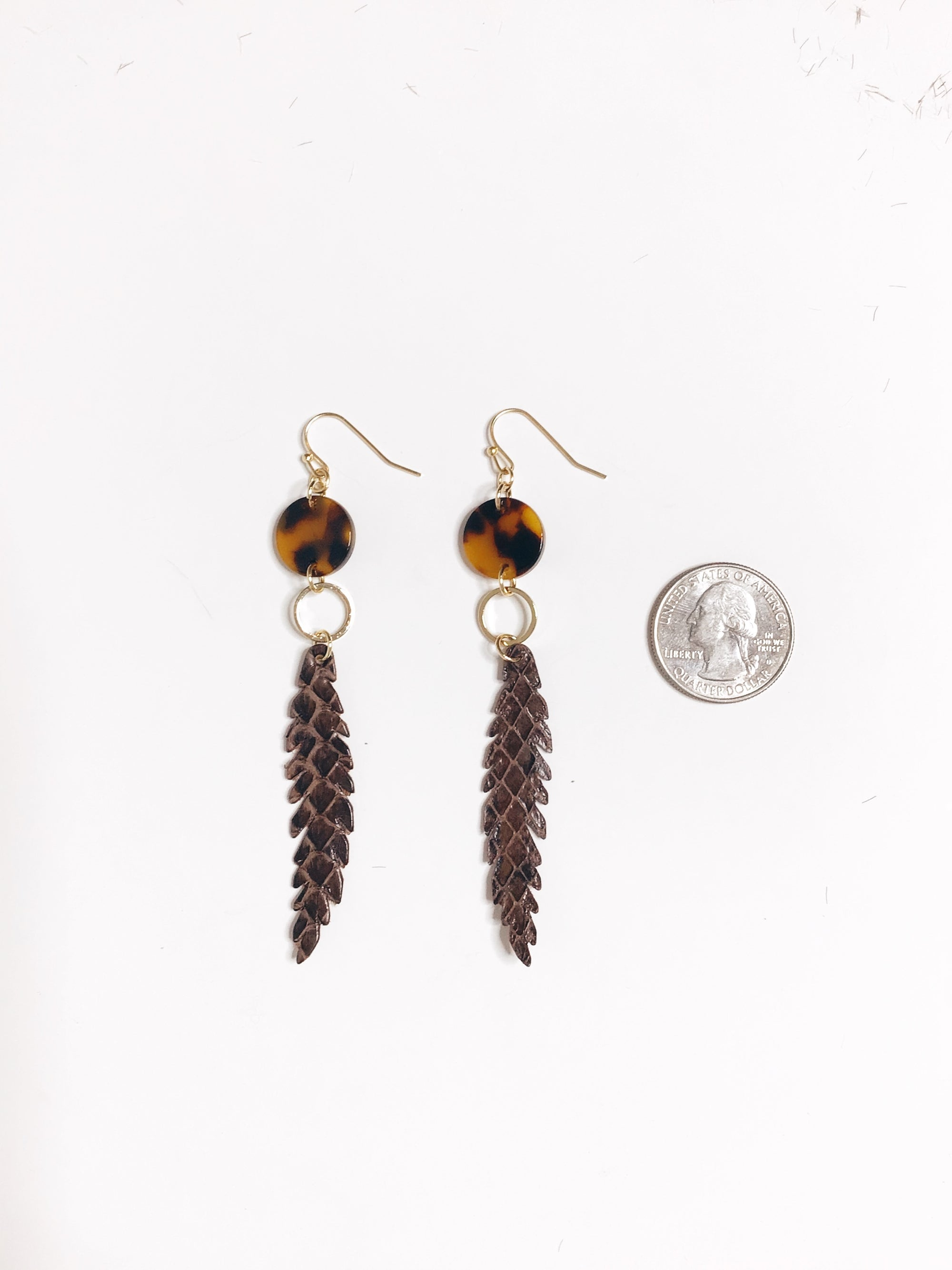 Brown Faux Leather Drop Earrings