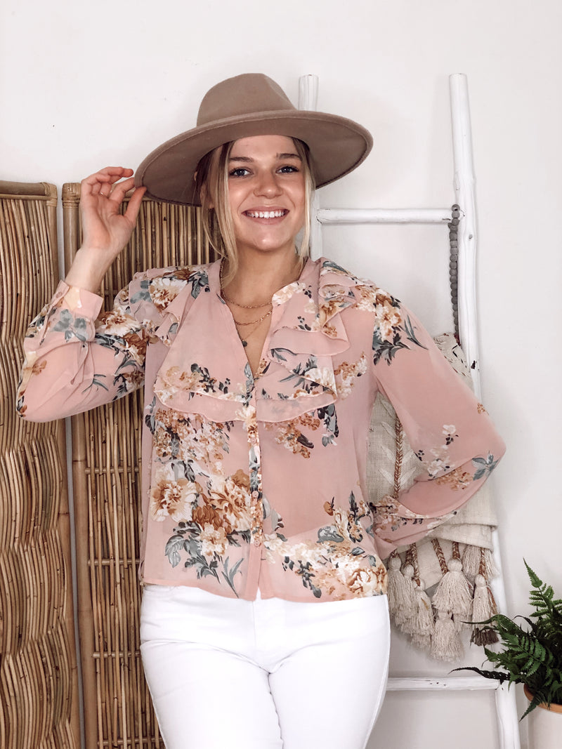Blushy Blush Floral Blouse