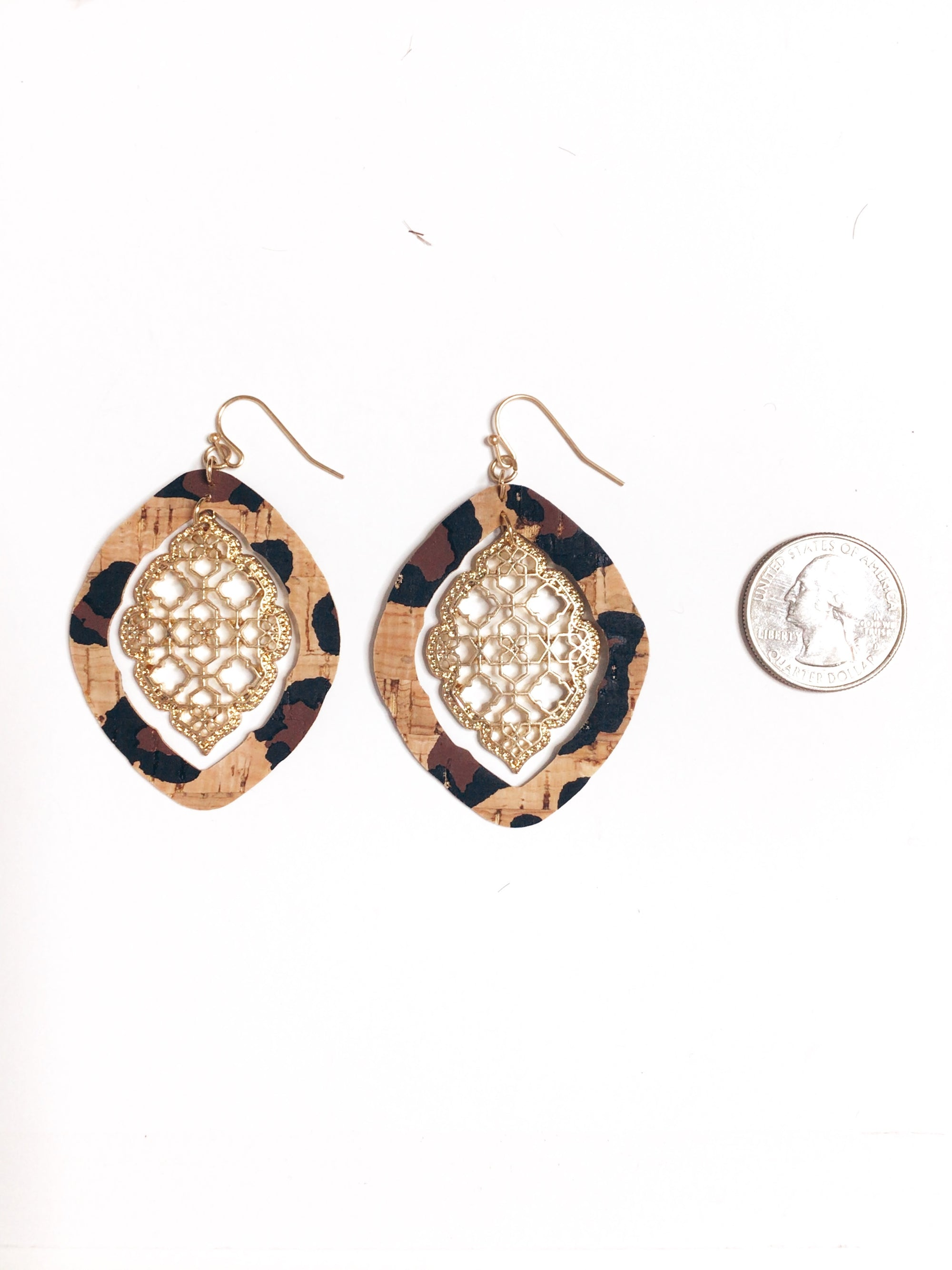 Leopard Moroccan Cork Teardrop Earrings