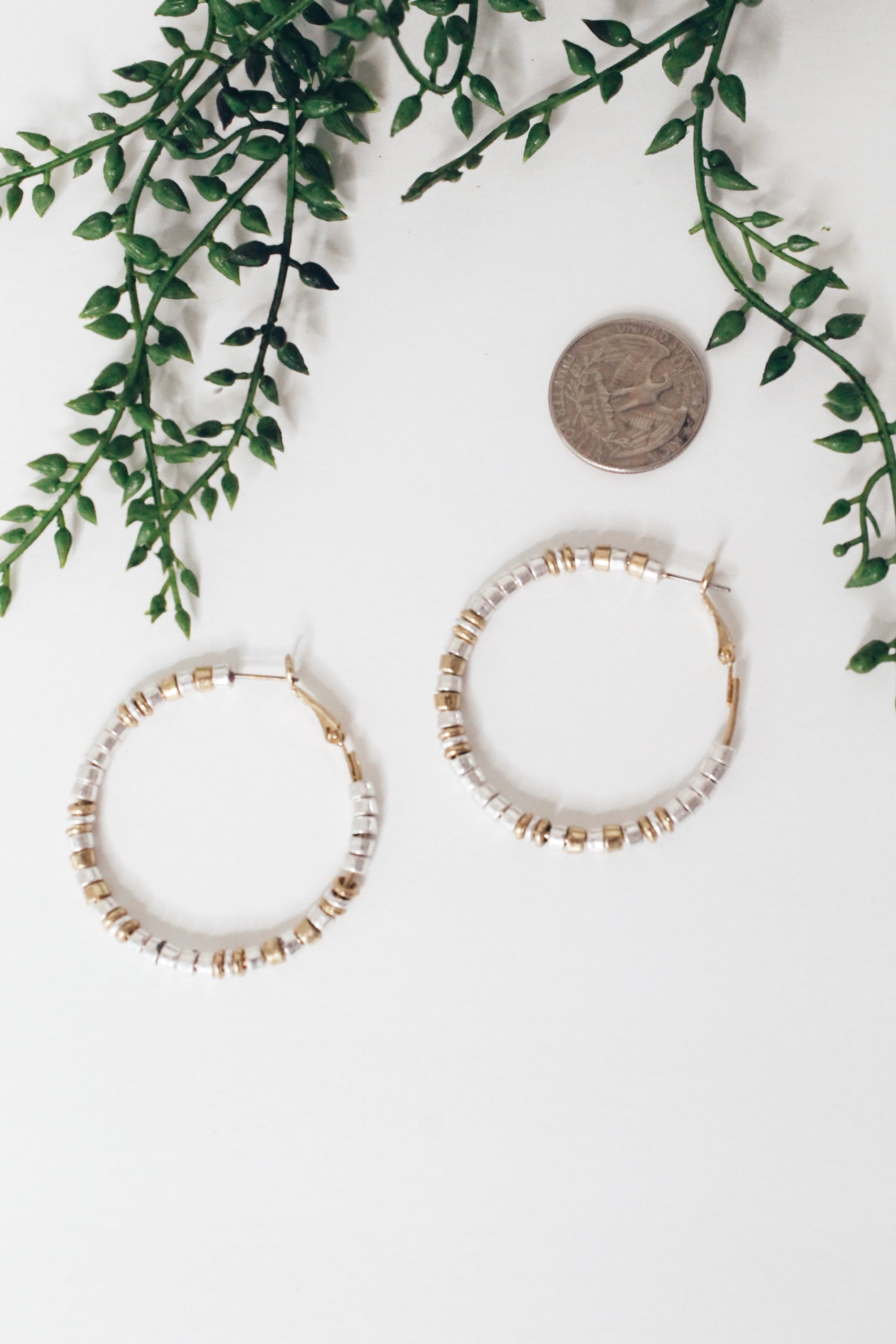 Metallic Beaded Hoop Silver