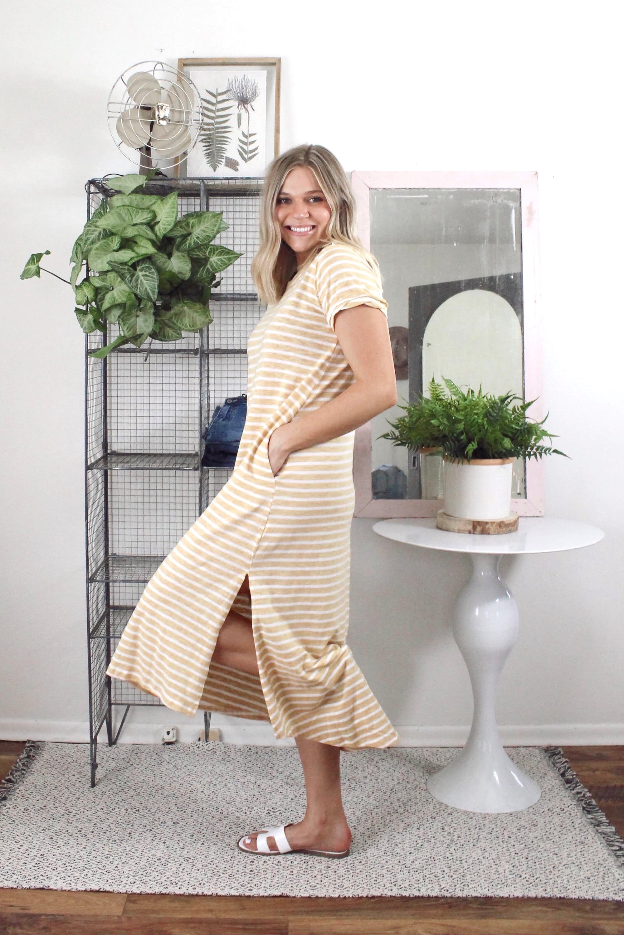Maxi Striped T-Shirt Dress Honey