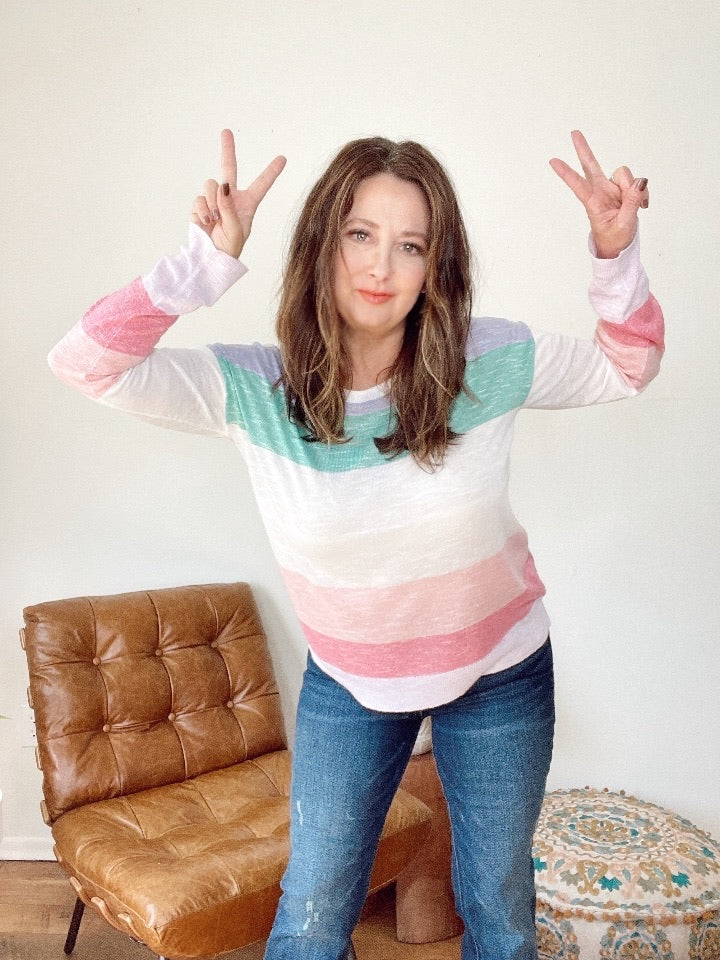 Rainbow Light Weight Sweater
