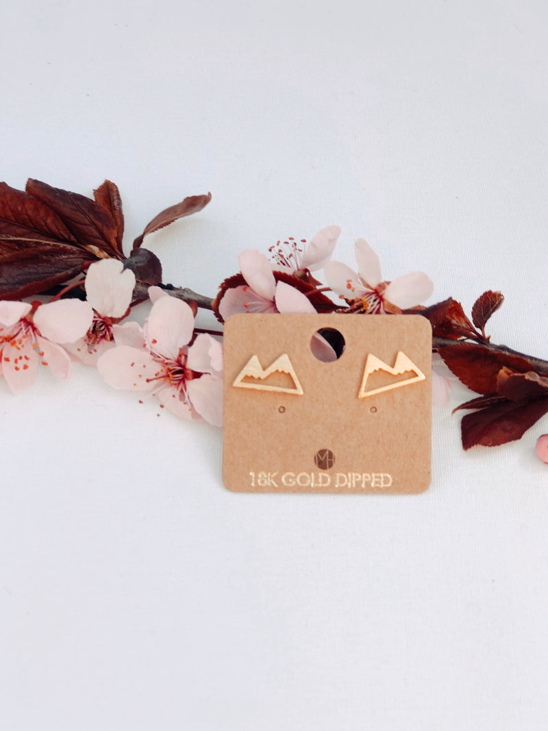 Double Peak Mountain Earrings Gold
