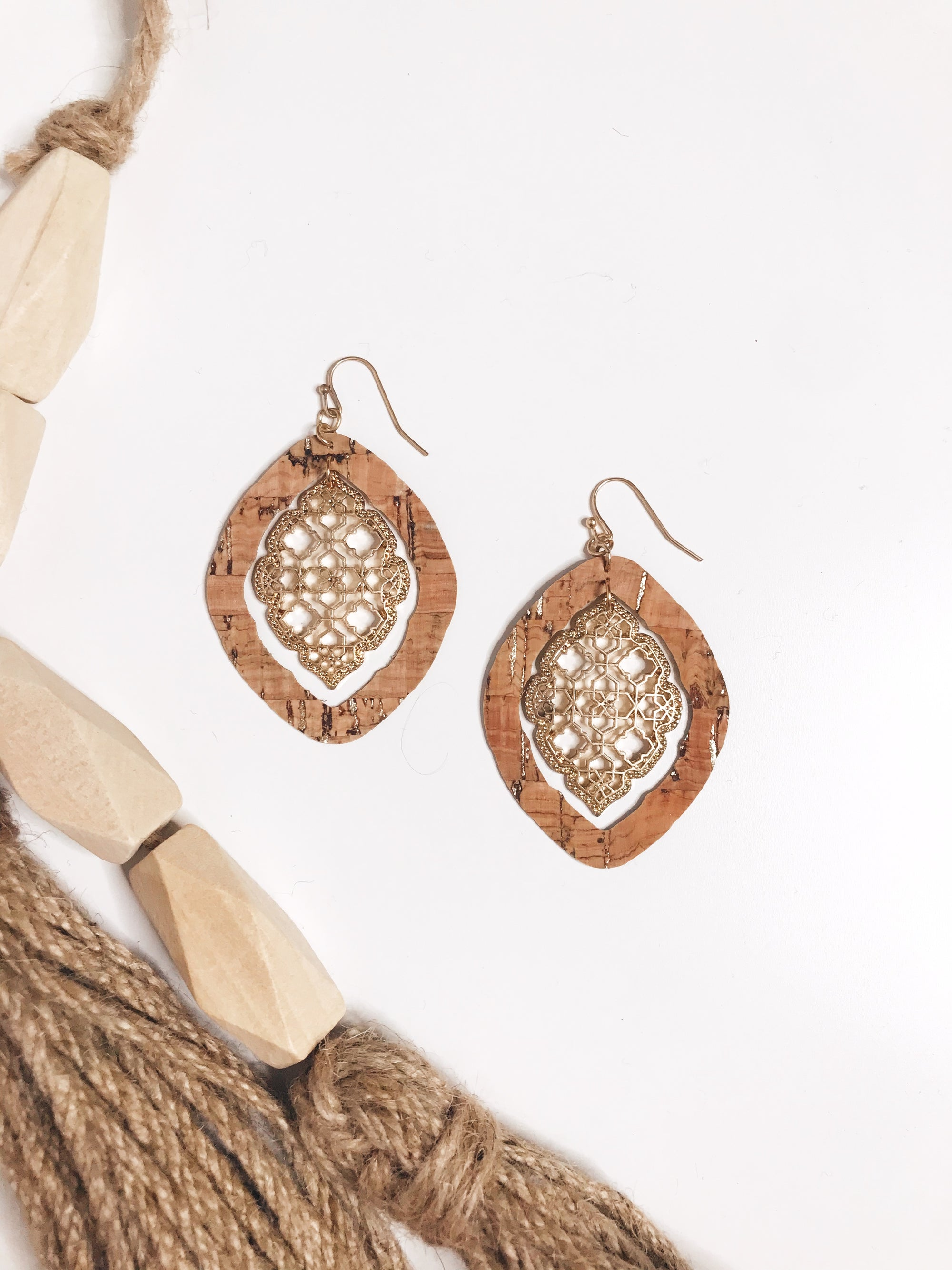 Natural Moroccan Cork Teardrop Earrings