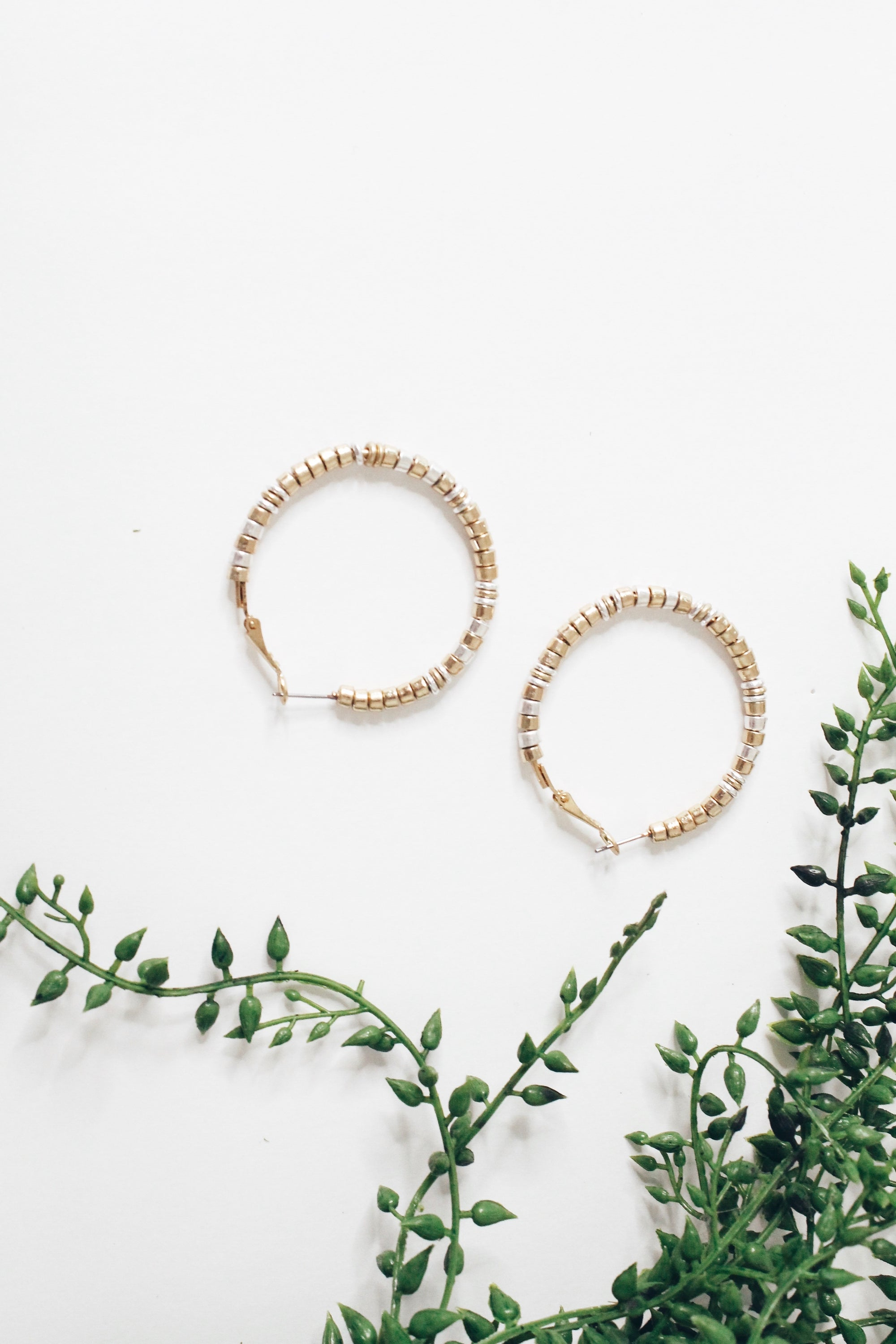 Metallic Beaded Hoop Gold