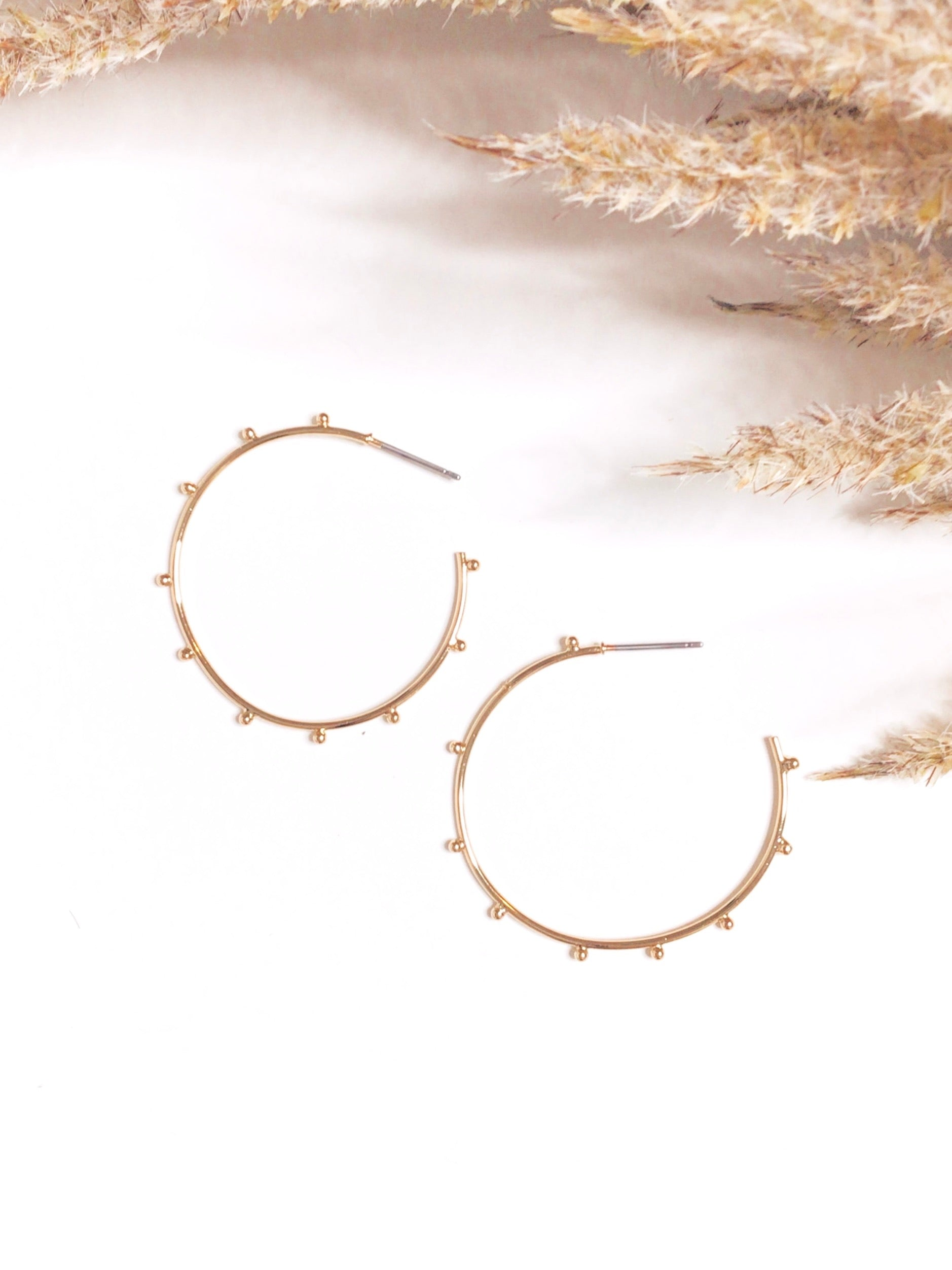 Wire Open Hoop Earrings Gold