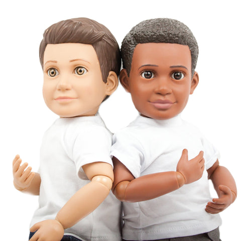 "Billy and Mason Action Dolls, 18"" boy dolls, African American doll and Hispanic doll for boys and for girls"