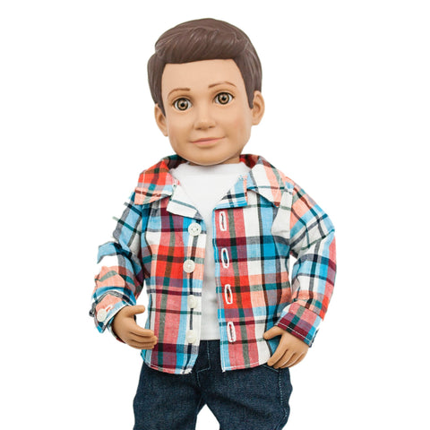 "Mason Action Doll by Boy Story, 18"" boy doll, Caucasian and Hispanic doll for boys and for girls"