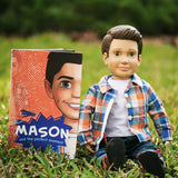 "Mason Action Doll and adventure book by Boy Story, 18"" boy doll, Caucasian and Hispanic doll for boys and for girls"