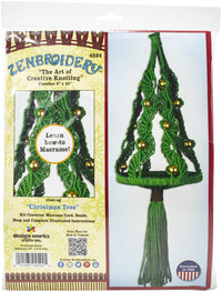 Zenbroidery Macrame Wall Hanging Kit 8inX24in Christmas Tree