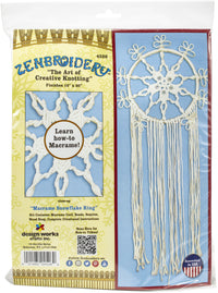 Zenbroidery Macrame Wall Hanging Kit 10inX20in Snowflake Ring