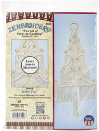 Zenbroidery Macrame Wall Hanging Kit 11inX24in White Tree