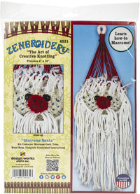 Zenbroidery Macrame Wall Hanging Kit 6inX18in Santa