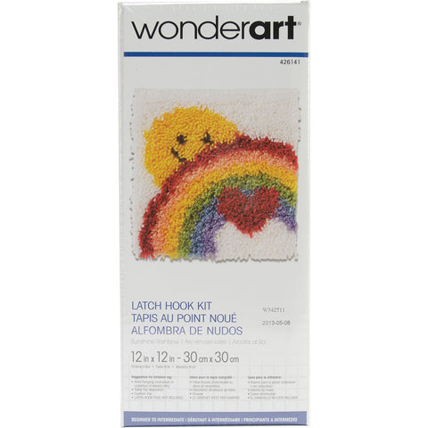 Wonderart Latch Hook Kit Sunshine Rainbow 12inX12in