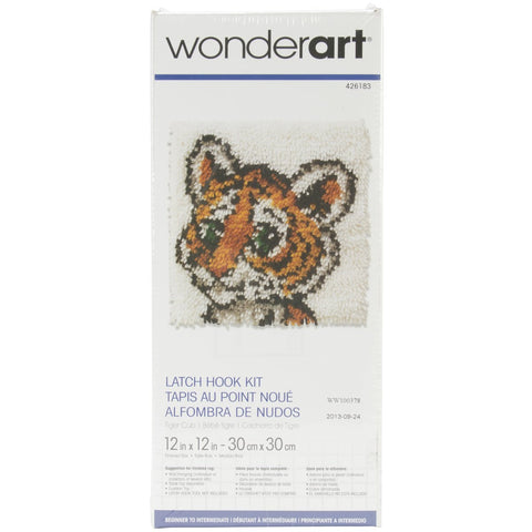 Wonderart Latch Hook Kit Tiger Cub 12inX12in