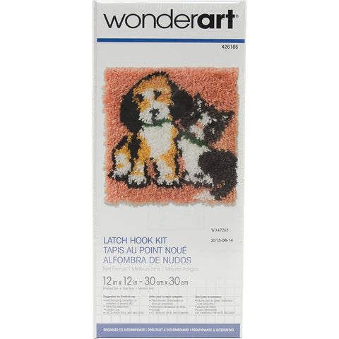 Wonderart Latch Hook Kit Best Friends 12inX12in