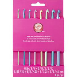 Aluminum Crochet Hook Set Sizes D3 - K10-1/2