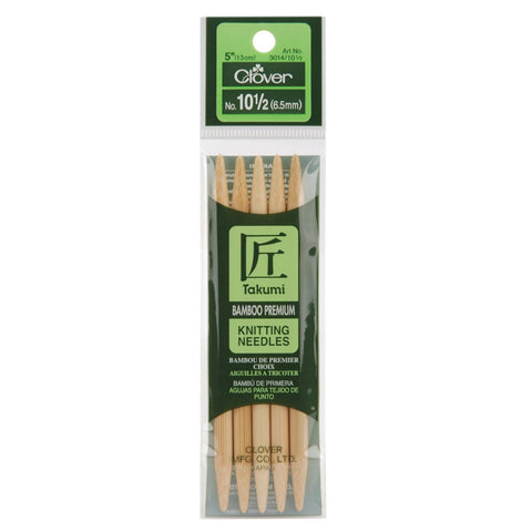 Bamboo Double Point Knitting Needles 5in Size 10.5 (6.5mm)