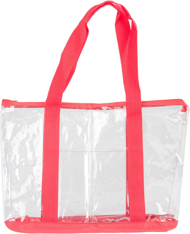 All Purpose Clear Tote Bag Red 19inX14inX6in