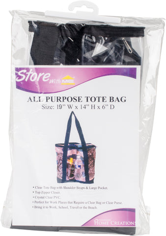 All Purpose Clear Tote Bag Black 19inX14inX6in