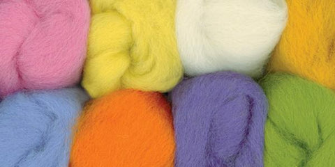 100% Wool Roving 12in Assorted Pastels