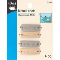 Dritz Metal Labels Gold & Nickel Handmade & Original 4pk