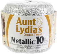 Aunt Lydia's Metallic Crochet Thread White/Silver, Multipack Of 12