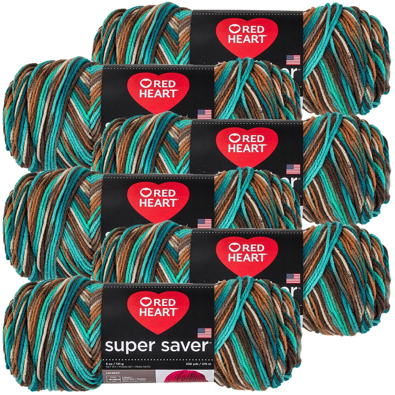Red Heart Super Saver Yarn-Reef Perfect for all knit and crochet projects