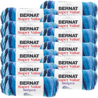 Bernat® Super Value Stripes Yarn Oceana, Multipack Of 12