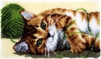 Vervaco Latch Hook Rug Kit Playful Cat 26.75inX15.5in