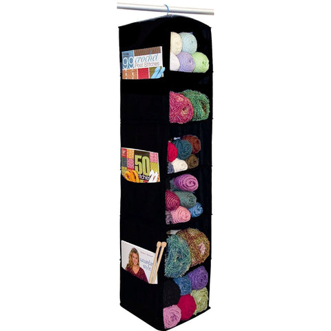 6 Shelf Yarn & Craft Organizer Black 48inx11inx11in