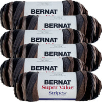 Bernat Super Value Stripes Yarn-Beachwood, Multipack Of 6