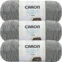 Caron Simply Soft Tweeds Yarn-Gray Heather, Multipack Of 3