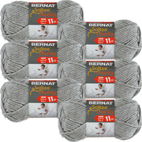 Bernat® Softee® Chunky Yarn Grey Heather, Multipack Of 6