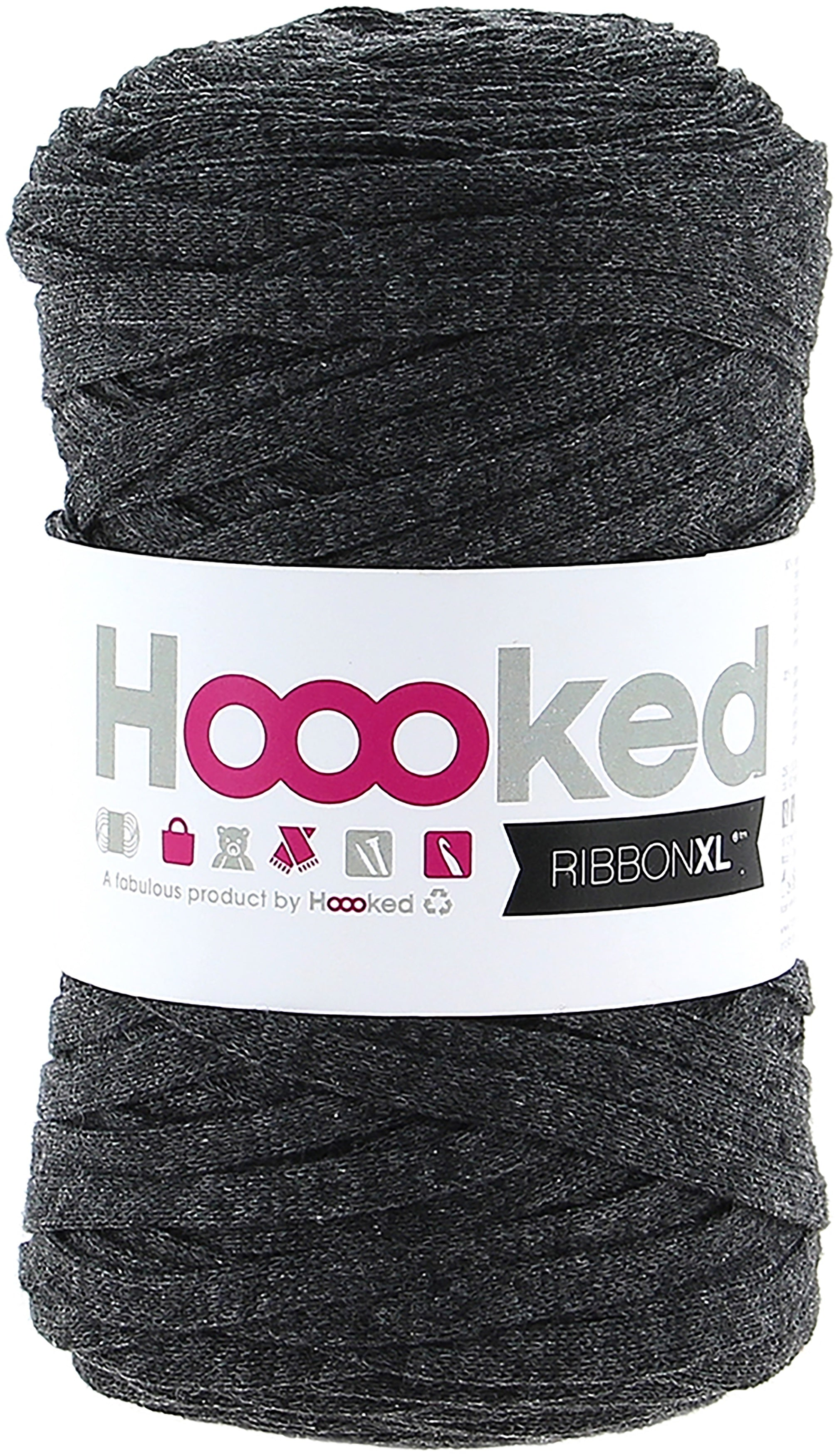 Hoooked RibbonXL 120M Cotton Yarn Knitting Crochet Charcoal Anthracite