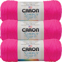 Caron Simply Soft Solids Yarn -Neon Pink, Multipack Of 3