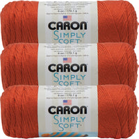 Caron Simply Soft Solids Yarn -Pumpkin, Multipack Of 3